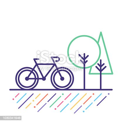 Line vector icon illustration of cycling outdoor.
