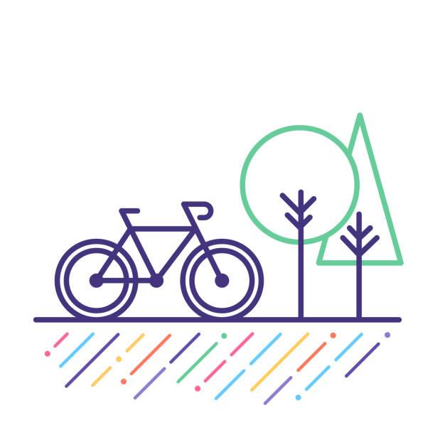 ilustrações, clipart, desenhos animados e ícones de ícone de linha de ciclismo - ciclismo