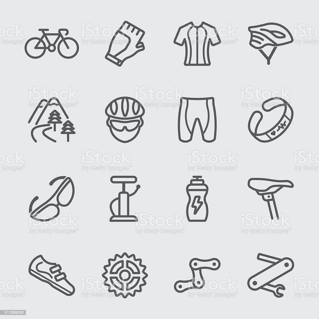 Ciclismo ícone de linha - ilustração de arte vetorial