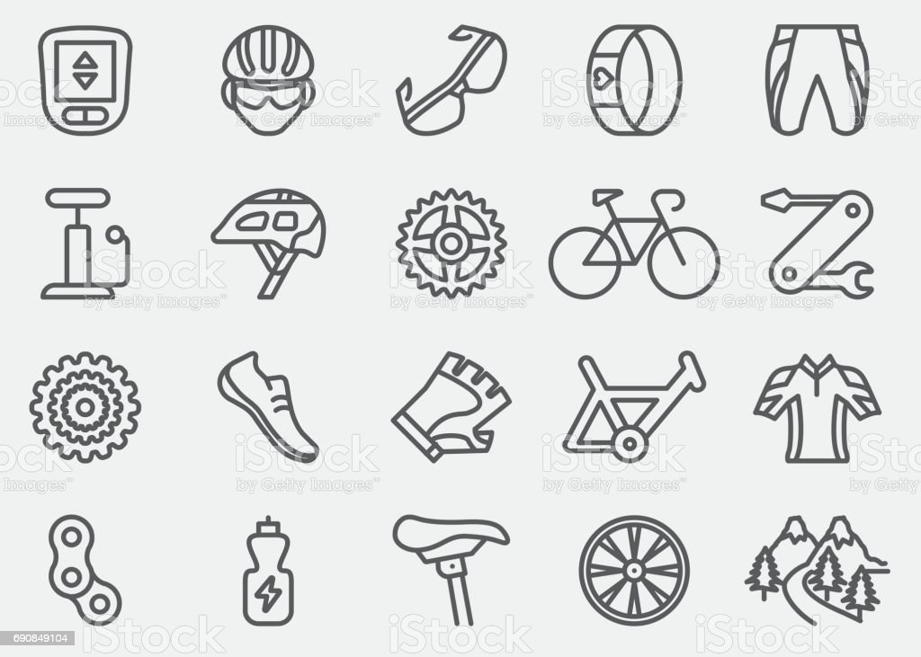 Cycling Line Icons | EPS 10 vector art illustration