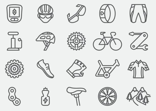 Cycling Line Icons | EPS 10 Cycling Line Icons  tire vehicle part stock illustrations