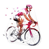 Cycling, low polygonal road cyclist on his bike, geometric vector illustration