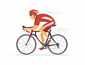 Cycling - modern colorful vector cartoon character illustration on white background. High quality composition with young man in sportive clothes, helmet, riding a bicycle. Healthy lifestyle