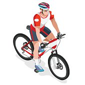 Mountain Biking Cyclist Bicyclist Athlete Summer Games Icon Set.Mountain Biking Cycling Concept.3D Isometric Sporting Bicycle Competition Race.Sport Cycling Infographic Vector Illustration.