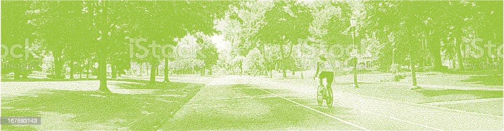 Cycling On A City Street vector art illustration