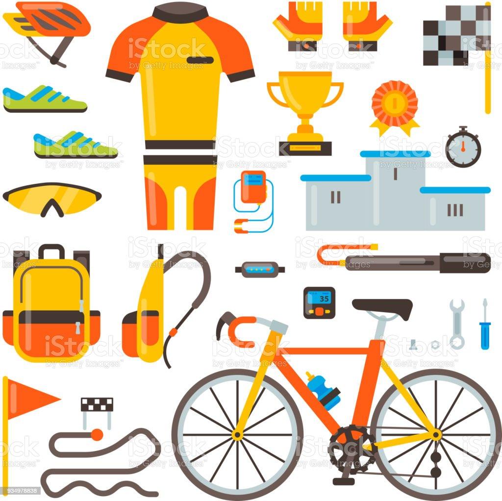 famosa marca de diseñador diseño popular rico y magnífico Ilustración de Ciclismo En Accesorios Para Bicicletas ...