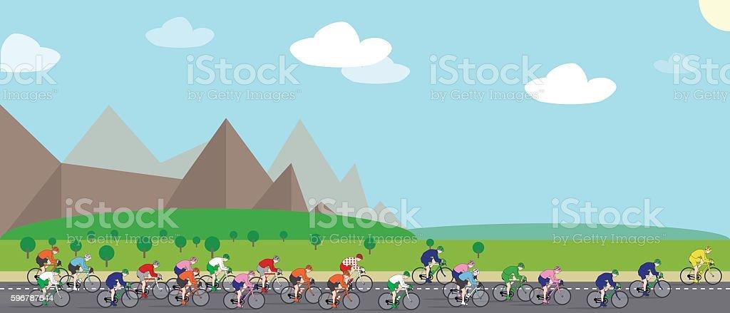 Cycling Race vector art illustration