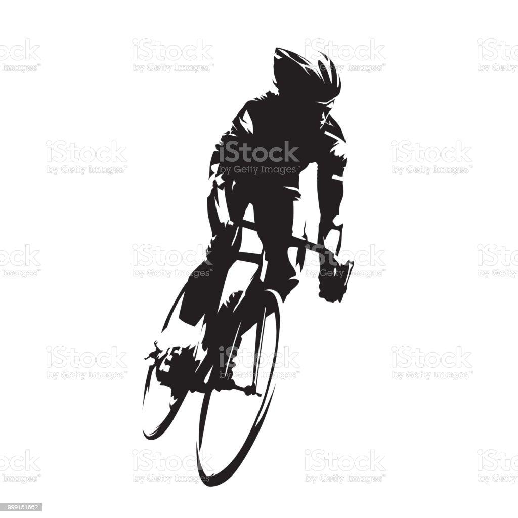 ilustração de ciclismo ciclista de estrada em sua bicicleta isolado