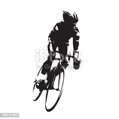 Cycling, road cyclist on his bike, isolated vector silhouette. Ink drawing, front view