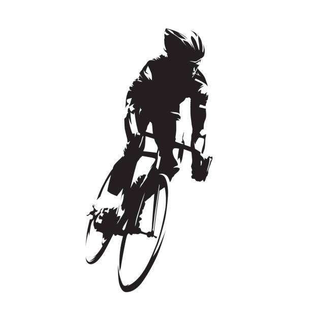 ilustraciones, imágenes clip art, dibujos animados e iconos de stock de ciclismo, ciclista de carretera en su bicicleta, aislados de silueta de vector. tinta de dibujo, vista frontal - andar en bicicleta
