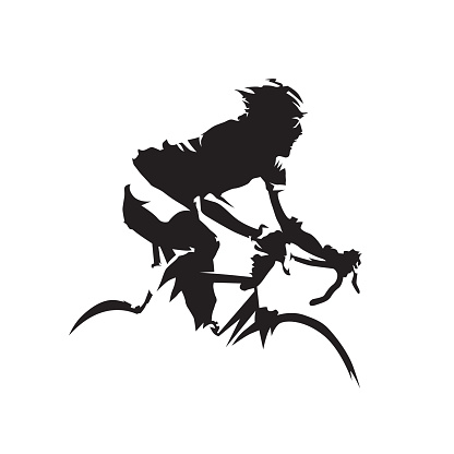 Cycling, road cyclist side view. Isolated vector silhouette. Biking logo