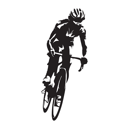 Cycling road race, abstract cyclist isolated vector silhouette