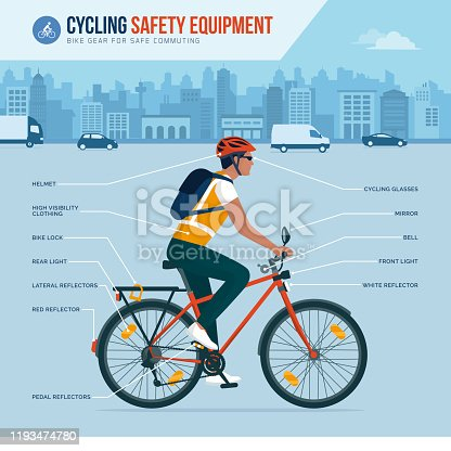 Cycling safety equipment and gear for safe commuting in the city, vector infographic