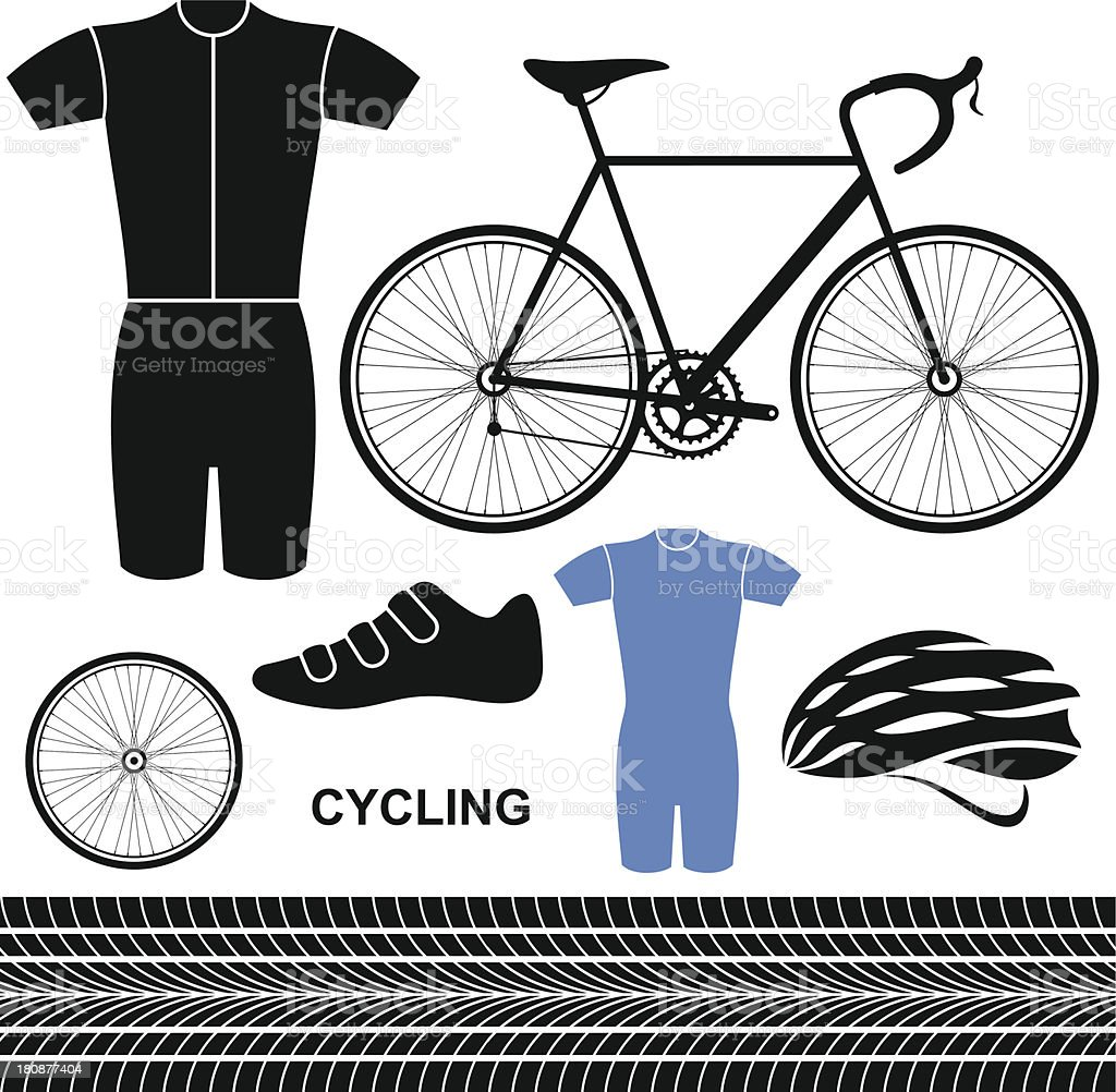 Cycling. Set vector art illustration