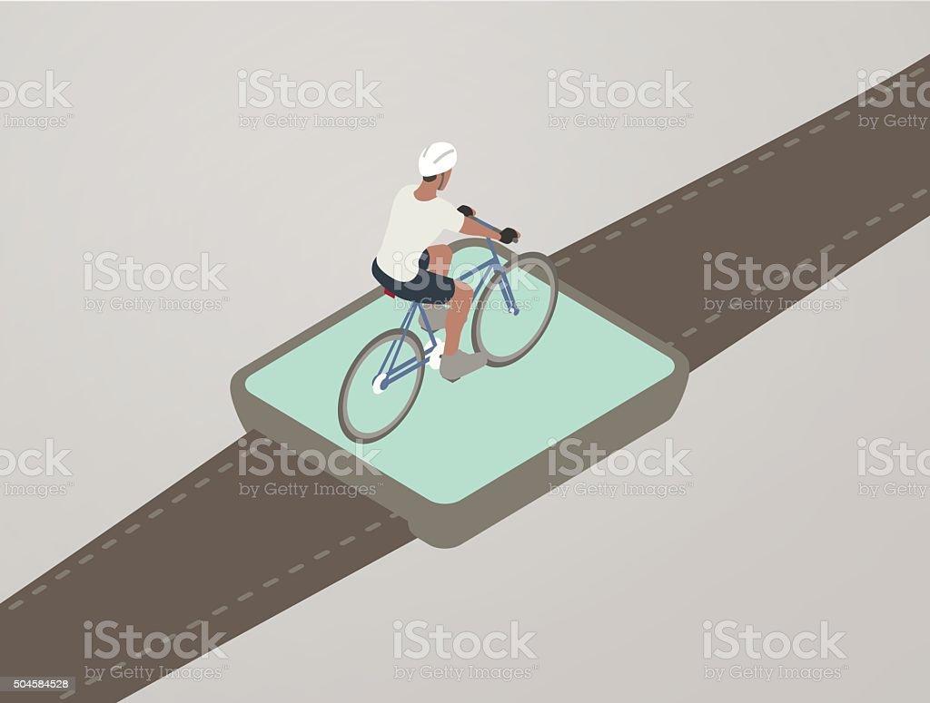 Cycling Smart Watch App Illustration vector art illustration