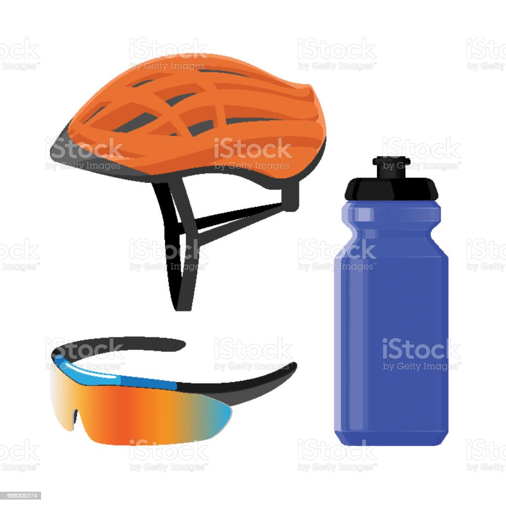 Cycling sportswear helmet, plastic drinking bottle, protective modern sunglasses vector art illustration