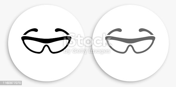 Cycling Sunglasses Black and White Round Icon. This 100% royalty free vector illustration is featuring a round button with a drop shadow and the main icon is depicted in black and in grey for a roll-over effect.