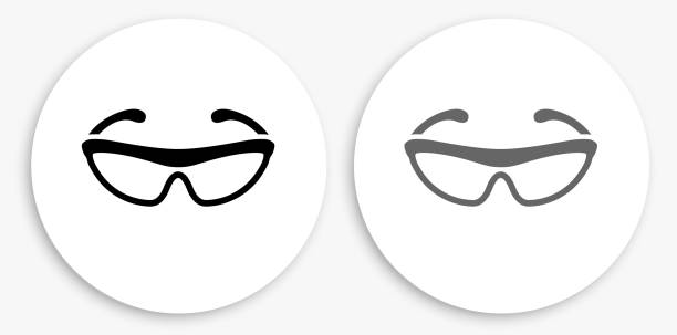 Cycling Sunglasses Black and White Round Icon vector art illustration
