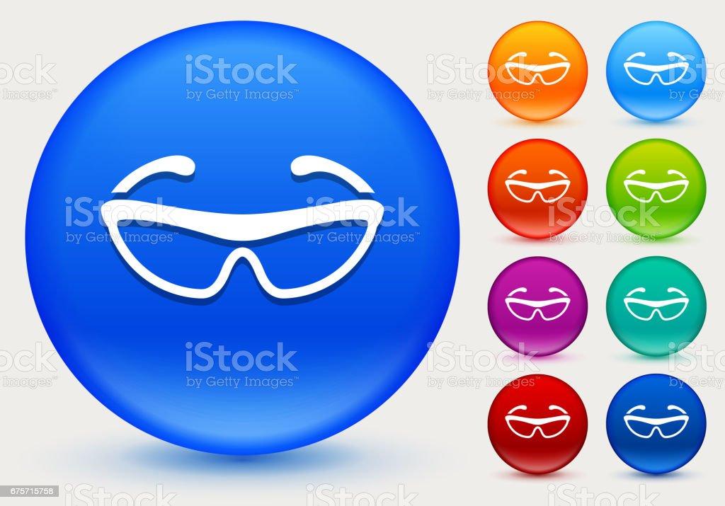 閃亮的彩色圓圈按鈕上的單車太陽鏡圖示。 免版稅 閃亮的彩色圓圈按鈕上的單車太陽鏡圖示 向量插圖及更多 器材 圖片