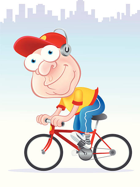 cycling - old man on bike stock illustrations, clip art, cartoons, & icons