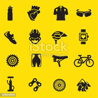 Cycling yellow Silhouette icons