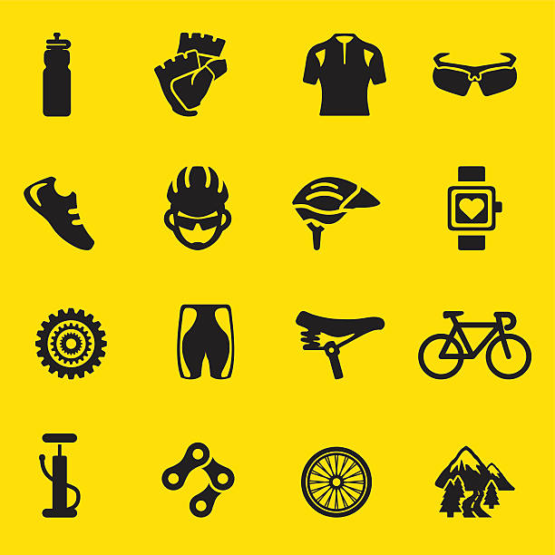 Cycling yellow Silhouette icons | EPS10 Cycling yellow Silhouette icons  bicycle chain stock illustrations