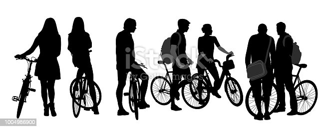 Group of young people socializing on their bicycles