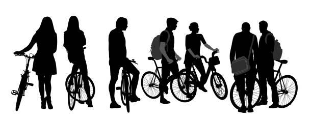 illustrazioni stock, clip art, cartoni animati e icone di tendenza di cycling young adults crowd - compagni scuola