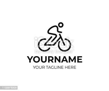 Cyclist design. Bicycle line art vector design. Bike cyclist design