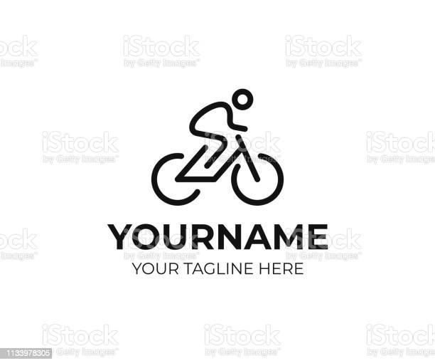Cyclist Design Bicycle Line Art Vector Design Bike Cyclist Design - Arte vetorial de stock e mais imagens de Adulto