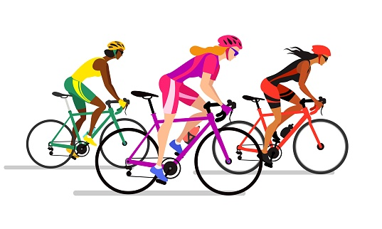 Cyclist girls in biker uniform. Professional cyclists colorful vector illustration.
