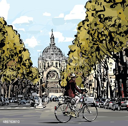Cyclist on the boulevard in front of Saint Augustin church in Paris - Vector illustration