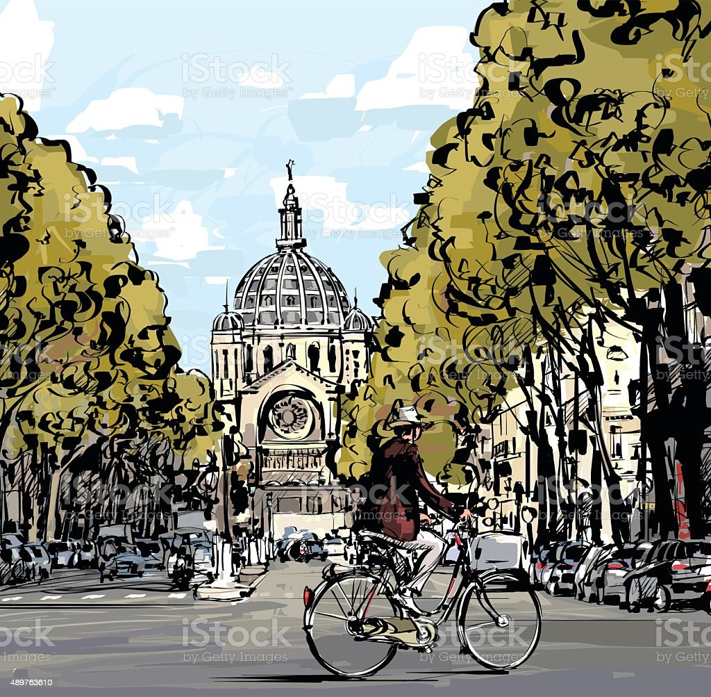 Cyclist in Paris vector art illustration