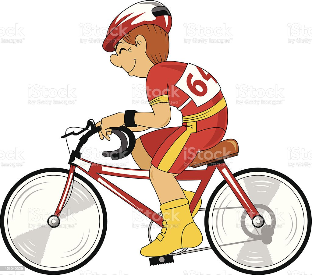 cyclist in red royalty-free stock vector art