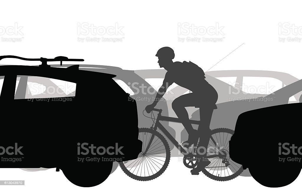 Cyclist in traffic vector art illustration