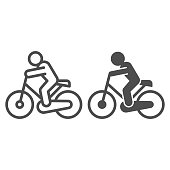 Cyclist line and solid icon. Cycle exercise, sportsman and bike symbol, outline style pictogram on white background. Healthy lifestyle or sport sign for mobile concept and web design. Vector graphics