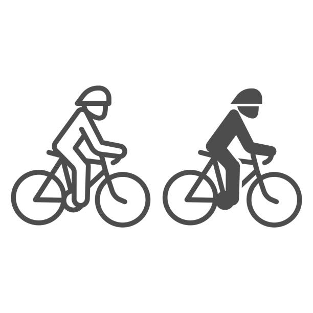 Cyclist line and solid icon, Summer sports concept, Cycling symbol on white background, man ride bicycle icon in outline style for mobile concept and web design. Vector graphics. Cyclist line and solid icon, Summer sports concept, Cycling symbol on white background, man ride bicycle icon in outline style for mobile concept and web design. Vector graphics active lifestyle stock illustrations
