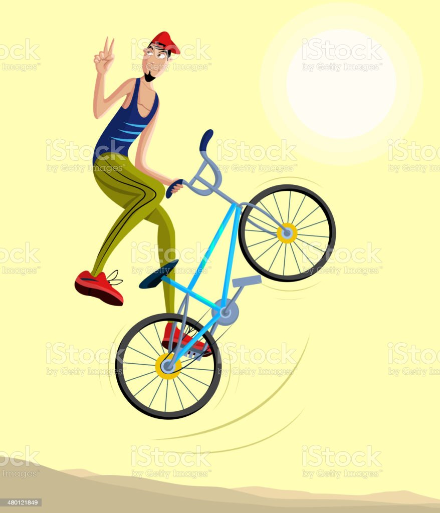 Cyclist making a stunt and jumps in the air royalty-free stock vector art