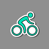 Cyclist on paper sticker. Vector isolated biker label illustration.