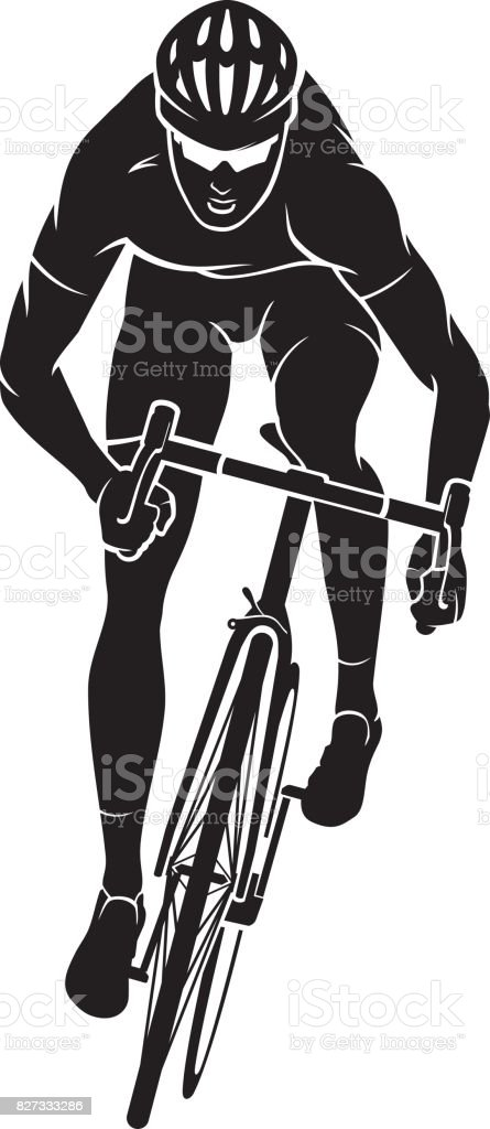 Cyclist Racer Front vector art illustration