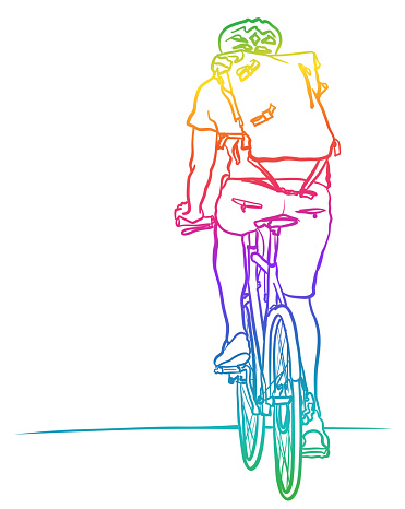 Cyclist Rearview Rainbow