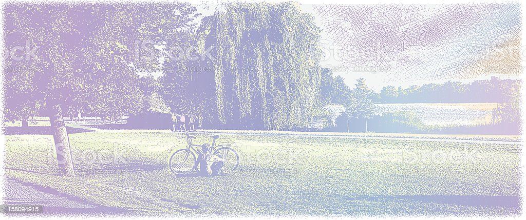 Cyclist Resting In Park vector art illustration