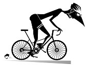 Cartoon cyclist man in helmet overcomes a steep ascent black on white illustration