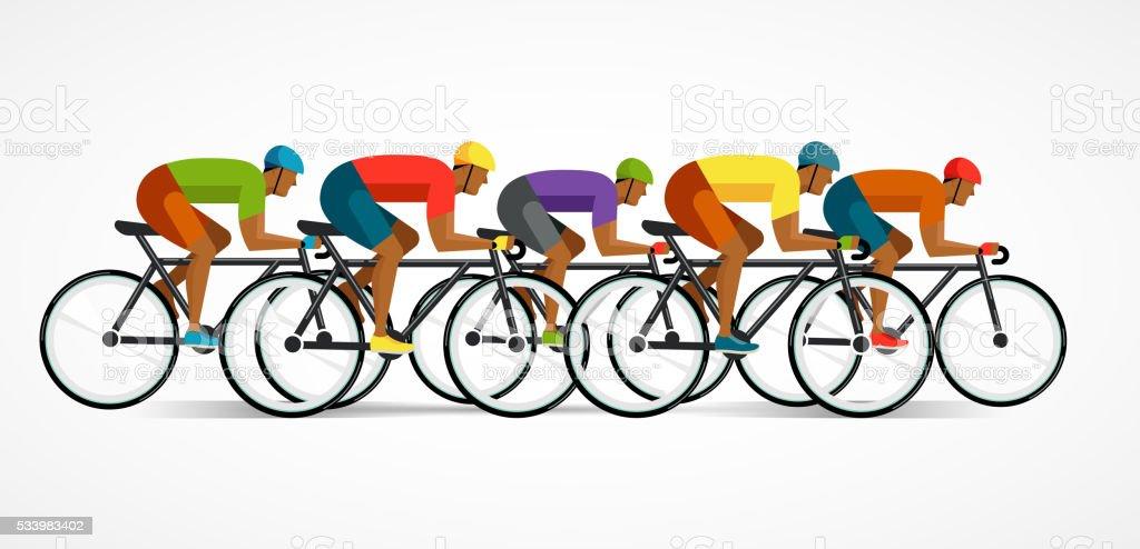 Ciclista andar de bicicleta, ilustração vetorial e cartaz - ilustração de arte vetorial