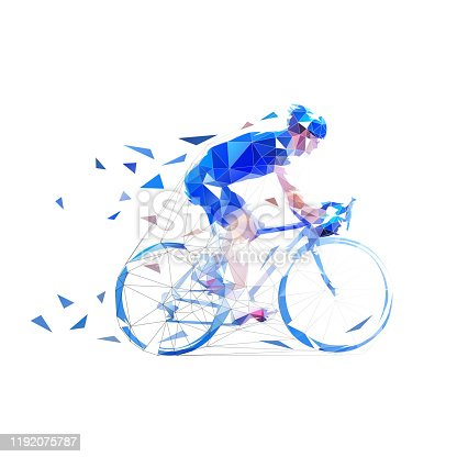 Cyclist. Road cycling low poly illustration. Side view, isolated vector geometric drawing