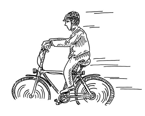 Cyclist Side View Drawing Hand-drawn vector drawing of a Cyclist, Side View. Black-and-White sketch on a transparent background (.eps-file). Included files are EPS (v10) and Hi-Res JPG. cycling stock illustrations