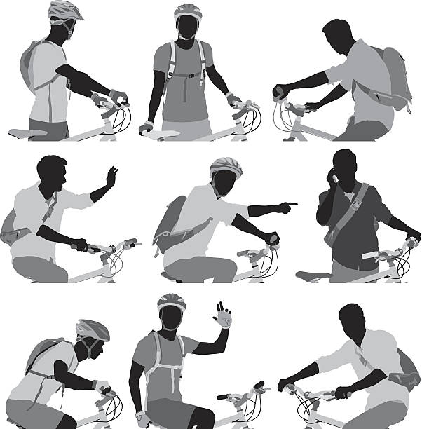 Cyclist silhouettes set vector art illustration