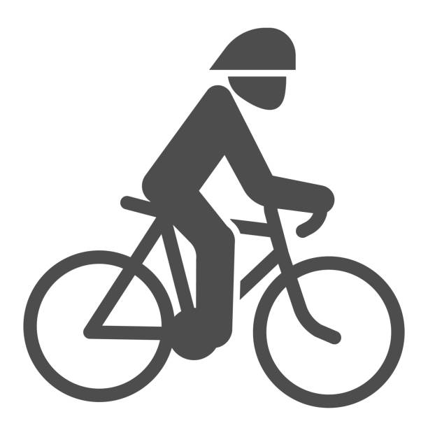 Cyclist solid icon, Summer sports concept, Cycling symbol on white background, man ride bicycle icon in glyph style for mobile concept and web design. Vector graphics. Cyclist solid icon, Summer sports concept, Cycling symbol on white background, man ride bicycle icon in glyph style for mobile concept and web design. Vector graphics active lifestyle stock illustrations