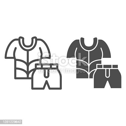 Cyclist suit line and solid icon, cycling clothes concept, Bike shirt and shorts sign on white background, Cycling Suit icon in outline style for mobile concept and web design. Vector graphics