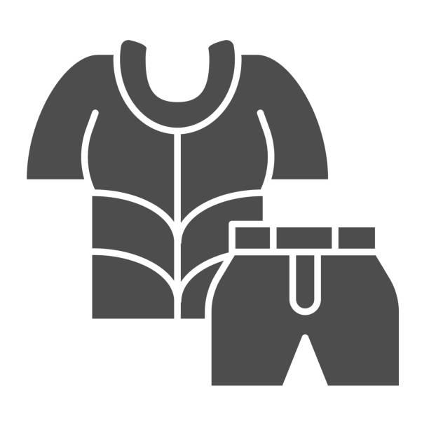사이클리스트는 단단한 아이콘, 사이클링 의류 컨셉, 자전거 셔츠 및 반바지 사인을 흰색 배경에 매치하고, 모바일 컨셉과 웹 디자인을 위한 글리프 스타일의 사이클링 슈트 아이콘을 매치합니� - 모자 모자류 stock illustrations